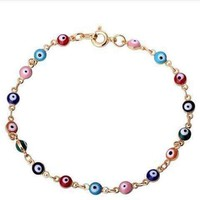 18K Gold Plated Teeny Tiny 'Evil Eye' Multi-color Bracelet For Woman