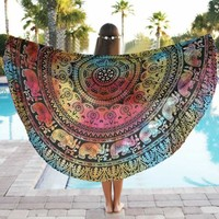 Swimming Bath Towel 150cm Round Functional Soft Beach Pool Home Shower Towel Blanket Table Cloth Yoga Mat Serviette Toalla