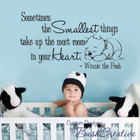 """Pooh Wall Decal - Nursery Baby Smallest things Small 003-22"""""""