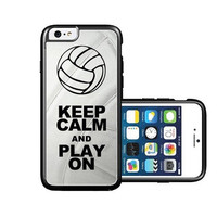 RCGrafix Brand Volleyball Keep Calm Play On Volleyball Player iPhone 6 Case - Fits NEW Apple iPhone 6