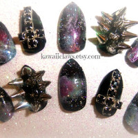 Omg Stop it- Spiked Galaxy false/fake 3D nail with crosses Goth