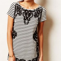 Scrolled Stripe Tunic by Anthropologie Black & White