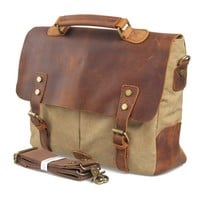 Dark Grey Leather and Canvas Bag Breifcase Tote