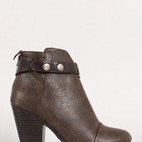 Two-Tone Snap Button Strap Chunky Heel Ankle Bootie
