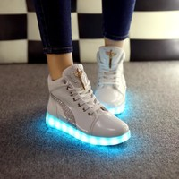 Stylish Bright Creative Colorful Couple Shoes Multi-color High-top Noctilucent Lights [8348188801]