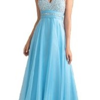 Faironly Halter Silk Chiffon Women's Formal Evening Prom Dress #Rgb (S, Turquoise)