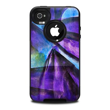 The Grunge Dark Blue Painted Overlay Skin for the iPhone 4-4s OtterBox Commuter Case