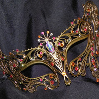 Metal Masquerade Mask with Pink and Orange Accents