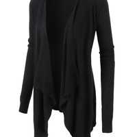 LE3NO Womens Ribbed Knit Open Front Draped Cardigan (CLEARANCE)