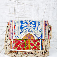 Fringed Clutch Bag in Ivory at Urban Outfitters