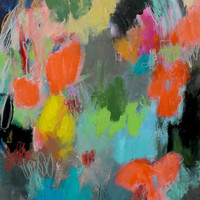 """Small Abstract Floral, Acrylic Painting, Colorful Small Original Artwork, """"Orange Flowers"""""""