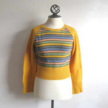 Vintage 1990s United Colors of Benetton Jumper Yellow Stripe Crop Jumper Small