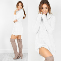 Oversized Solid Knitted Sweater Turtleneck Pullover