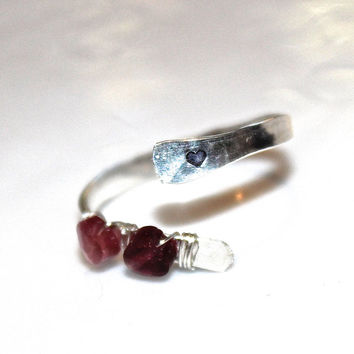 Tiny Heart Ring Sterling Silver Ring Heart Stamped Ring Tourmaline Ring Pink Heart Ring Engagement Ring Adjustable Ring Valentines Day