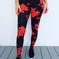 Stay Strong Pants: Black/Red