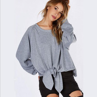 Gray Tie Knot Loose Sweater B0014068