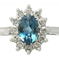 1.07 ct Aquamarine and 0.36 ct Diamond, 18 ct White Gold Dress Ring - Vintage 1973