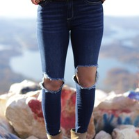 Exposed Knee High Rise Jean, Dark Denim