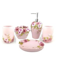 HQdeal 5PC Set Acrylic Bathroom Accessories Bathroom Set Flowers Bloom Acrylic Bath Set Soap Dispenser/Toothbrush Holder/Tumbler/Soap Dish ¡