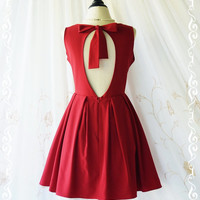 Alice In Wonderland II - Gorgeous Blood Red Cut Off Back Sundress Halter Burgundy Prom Party Dress Bridesmaid Dress Summer Dress XS-XL