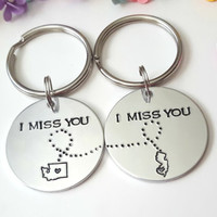 Couple Keychains, State to State Keychains, Choose your State, Personalized Gifts, Boyfriend Gift, Gift for Girlfriend, I Miss You