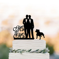 Gay Wedding Cake topper mr and mr, Cake Toppers with dog, gay silhouette, cake topper for wedding, same sex cake topper