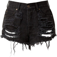 Black High Waisted Denim Shorts - Destroyed