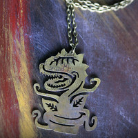 Brass Patina Metal Audry 2 Little Shop of Horrors Pendant Necklace