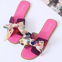 Hermes Fashion Women Casual Leather Bowknot Slippers Sandals Shoes Rose Red