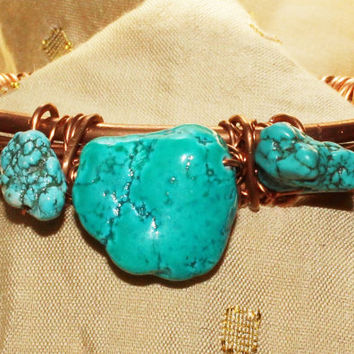 Handmade Rustic Boho Hippie Southwestern Copper and Turquoise Cuff Bracelet