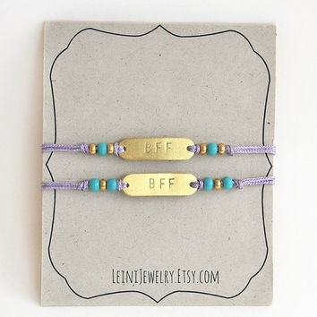 Set of friendship bracelets, hand stamped BFF bracelet set in lilac and turquoise