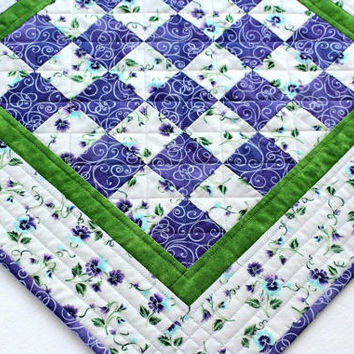 Quilted Table Topper, Pansy Table Mat, Pansies Table Runner, Purple Green Candle Mat, Table Quilt, Quiltsy Handmade