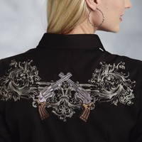 Roper® Women's Black Embroidered LS Snap Old West Shirt