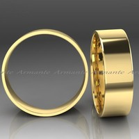 Wide Mens 14K Yellow Gold Wedding Ring, 7.00mm Wide