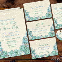 Wedding Invitations Set Template Succulents Rustic Package Printable Invite Save The Date INSTANT DOWNLOAD Teal Aqua Cream Lights Editable