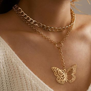 Thick Chain Big Butterfly Pendant Necklace for Women Trendy Gold Color Alloy Metal Geoemtric Jewelry Collar