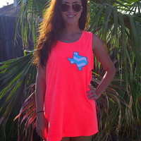 Comfort colors neon coral tank with Texas appliqué