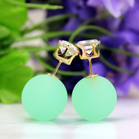 Candy-colored sided eraser bead earrings