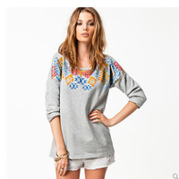 Women's Trending Popular Fashion 2016 Floral Printed Everyday Wear Loose Long Long Sleeve Round Necked T-Shirt _ 9194