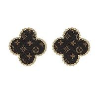 Up Cycled LV Gold Beveled Clover Earrings