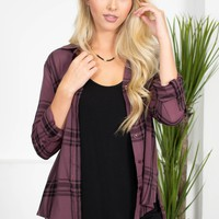 Eggplant Pocket Plaid Top