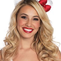 Lace Hello Kitty ear headband with plush satin bow in WHITE/RED