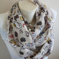 Neko Atsume Scarf Animal Scarf Cat Infinity Scarf  Handmade Women Birthday Gifts Gift for Her Christmas Gifts Winter Accessories