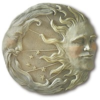 Moon and Sun Wall or Garden Plaque