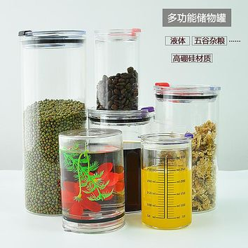 Glass Jar With Cover Grain Receive Candy Store Content Box Of Dry Food Cans Of Milk Powder Sealed Tank Tea