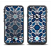 The Blue and White Mosaic Mirrored Pattern Apple iPhone 6 LifeProof Fre Case Skin Set