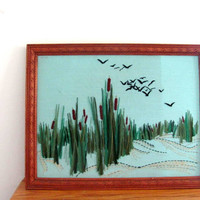 vintage CREWEL water landscape scene // colorful framed long stitch needlepoint Cattails and Birds Picture