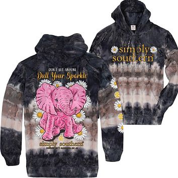 Simply Southern Sparkle Elephant Tiedye Pullover Hoodie T-Shirt