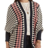 Navy Combo Geometric Print Cocoon Cardigan by Charlotte Russe