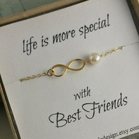 Set Of 2 Best Friends Gift, Bridesmaid Gift, Mother Of the Bride or Groom Gift, Infinity Bracelet, Freshwater Pearl, Eternity, Maid Of Honor